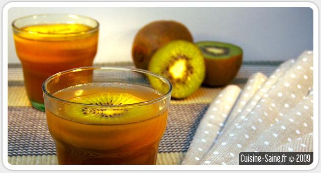 Aspic de kiwi à la poire et agar agar