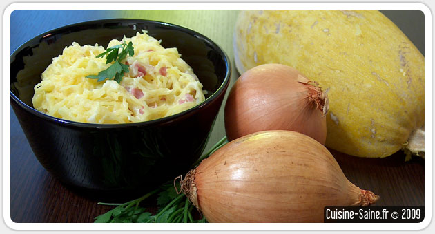 Recette sans gluten: courge spaghetti façon carbonara