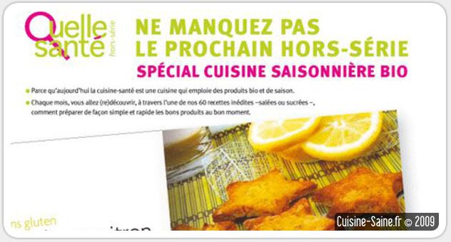 Blog cuisine bio : hors série cuisine bio du magazine Quelle santé