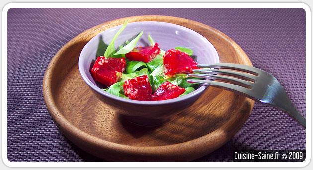 Recette bio : mâche aux cubes de betterave à l'agar agar