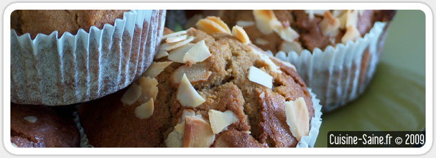 Recette bio de muffins aux poires et amandes sans gluten