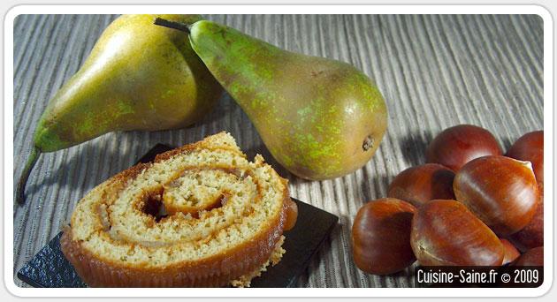 Recette de Noël : buche de Noël à la poire et crème de châtaigne