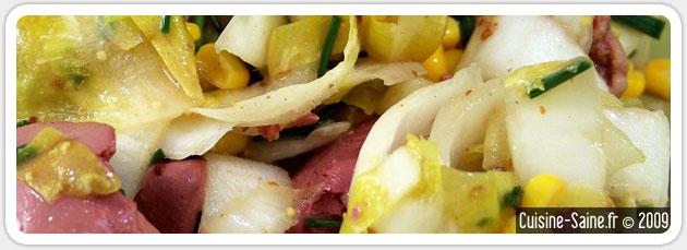 Recette bio rapide de salade d'endives aux foies de volailles