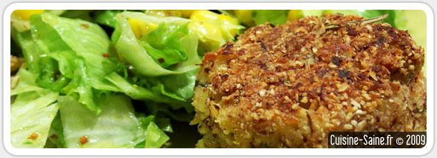 Recette bio et végétarienne de croquettes de flocons de riz pané à l'amande