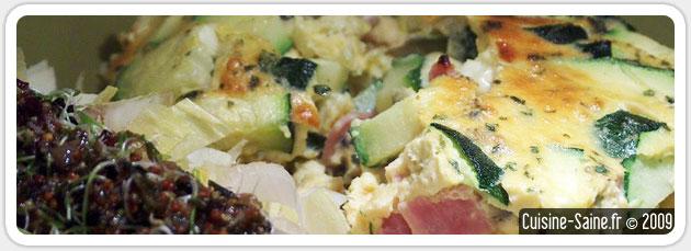 Recette sans gluten ni lait de flan de courgette au jambon blanc et fines herbes