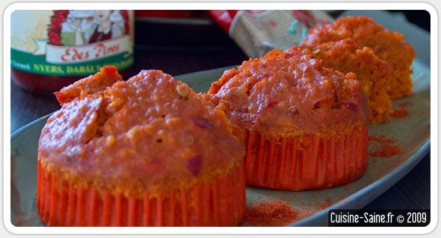 Recette bio : muffins salés au paprika et poivron