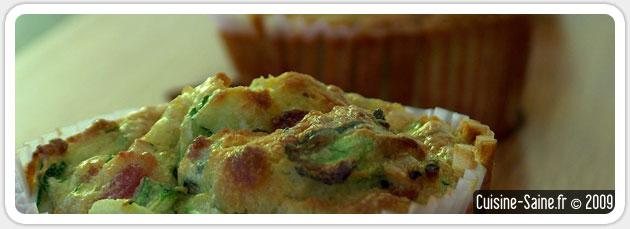 Muffins salés sans gluten à la courgette, fêta, lardon