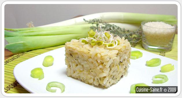 Recette sans gluten : risotto aux poireaux et thym