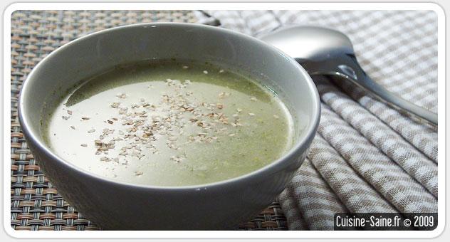Soupe de brocolis au sésame sans gluten sans lactose
