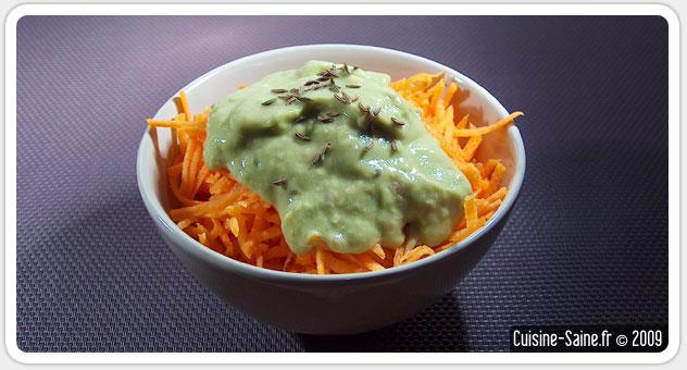 Recette végétalienne : salade de carotte à la crème d'avocat