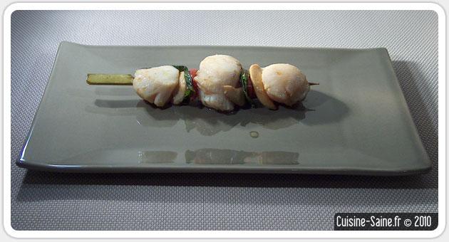 Recette sans gluten : brochettes de noix de Saint Jacques