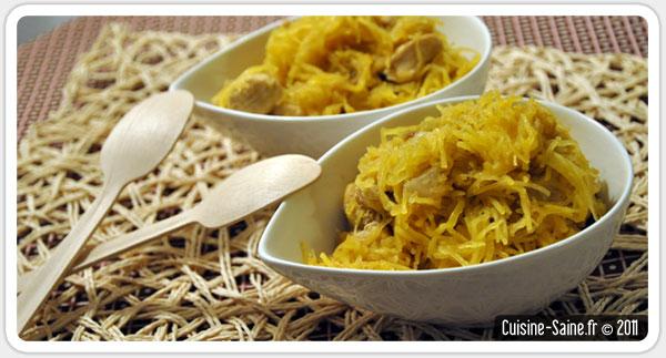 Recette sans gluten : poulet à l'ananas séchées et courge spaghetti