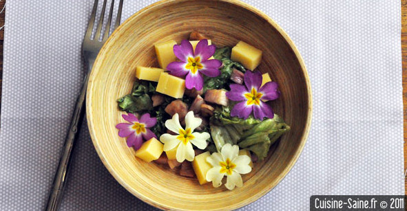 Recette bio rapide : salade aux primevères et comté