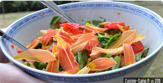 Recette bio minceur : salade composée à l'hémérocalle et coquelicot