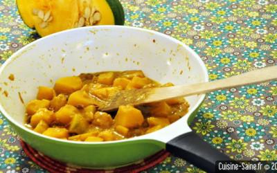Recette bio au wok : potiron courge au lait de coco et curcuma