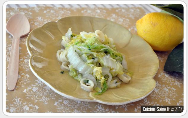 Recette wok : calamar citronné au chou chinois