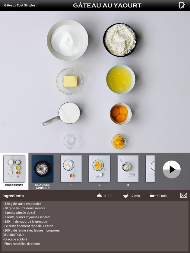 application ipad recette cuisine