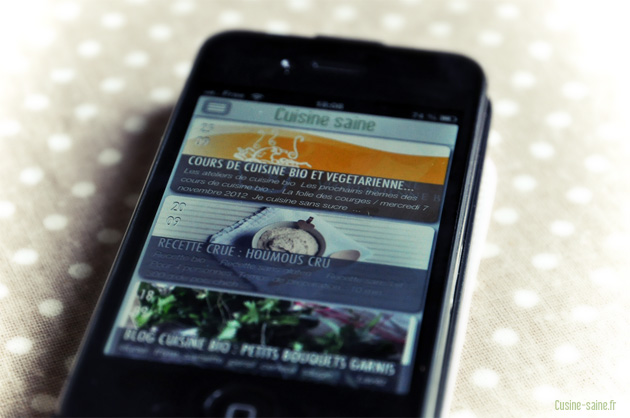 Application iphone cuisine saine, le blog de cuisine bio