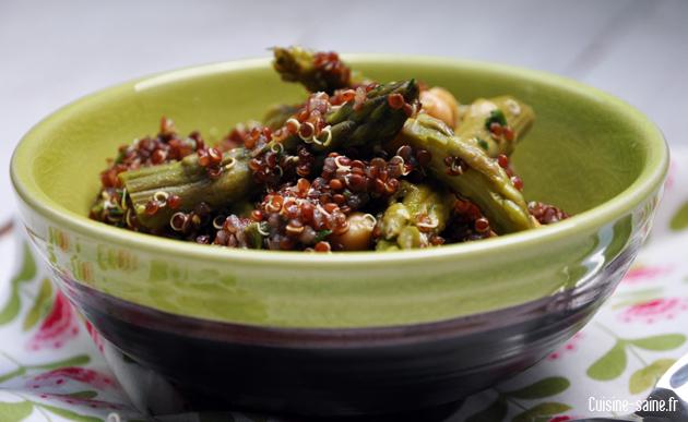 Recette bio : salade printanière de quinoa rouge aux pointes d'asperge