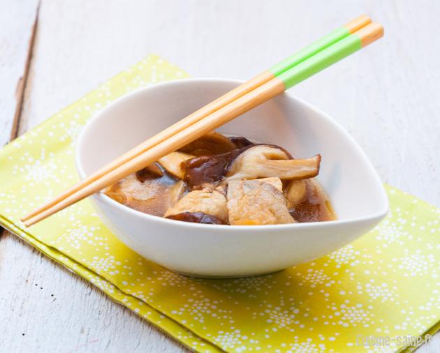 recette sans gluten : poulet au shiitake