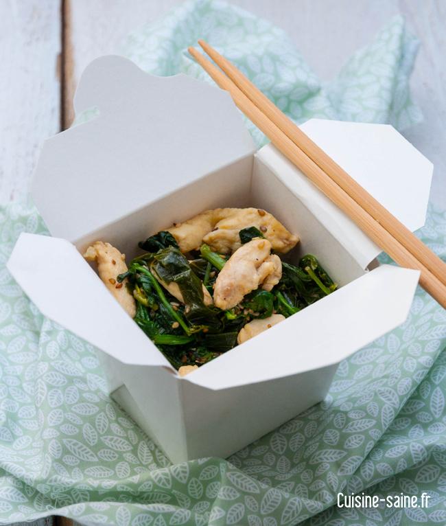 Wok de poulet ail des ours, épinard et feuille de chou rave