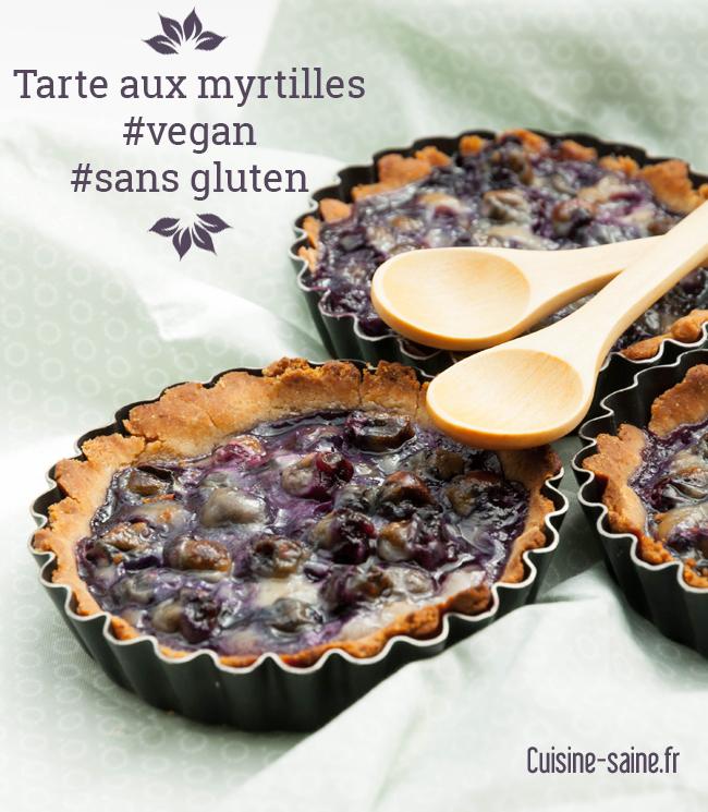 Tarte aux myrtilles sans gluten, sans lait, sans œuf, vegan