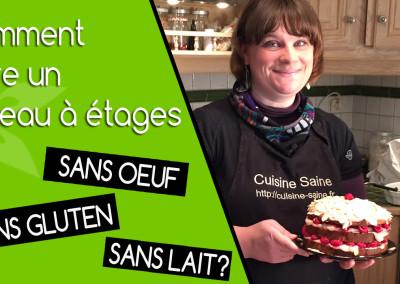 Vidéo gâteau à étages sans gluten, sans lait, sans oeuf, sans soja (vegan)