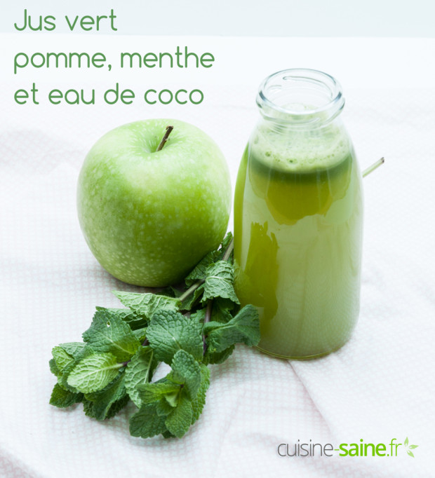 jus vert eau de coco menthe et pomme verte blog cuisine saine sans gluten sans lait. Black Bedroom Furniture Sets. Home Design Ideas
