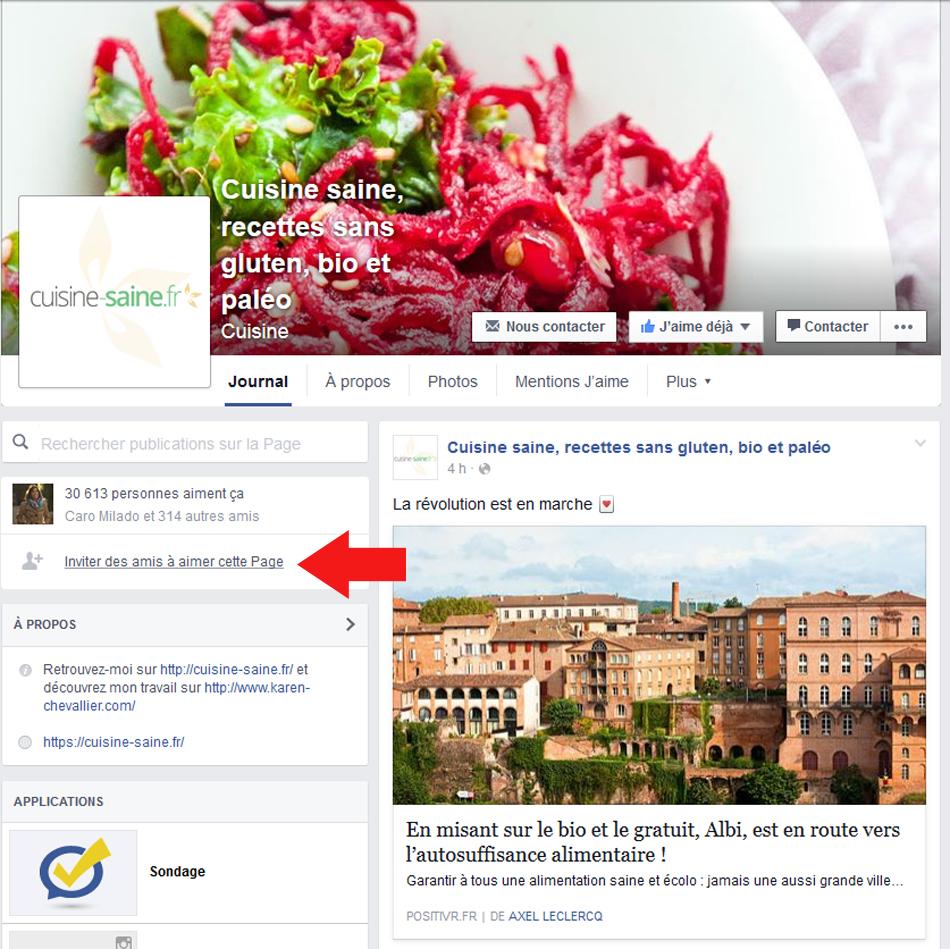 inviter les amis à aimer la page facebook cuisine saine