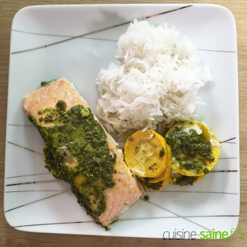 saumon riz courgette à l'omnicuiseur