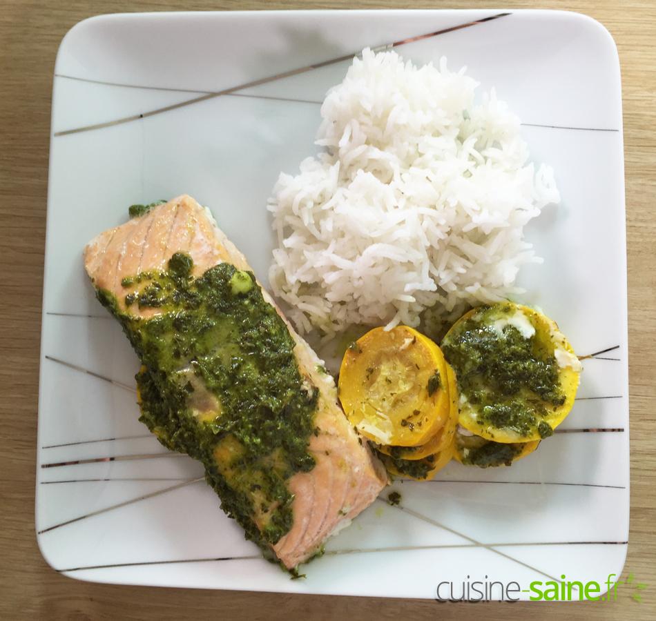 Dos de saumon ail et persil accompagné de courgette et riz basmati