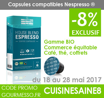 Café : capsules de café bio compatibles Nespresso® - remise 8% avec le code promo CUISINESAINE8 sur gourmesso.fr du 18 au 28 mai 2017