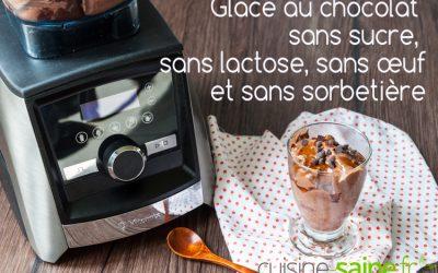 Glace au chocolat sans sucre, sans lactose, sans œuf (sans sorbetière)