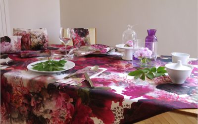 Nappes fleuries, torchons, serviettes et accessoires made in France