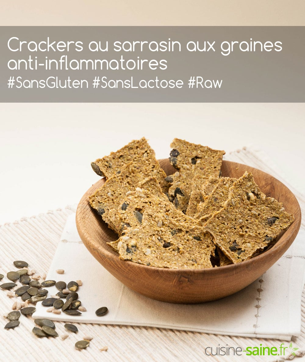 Crackers au sarrasin aux graines anti-inflammatoires sans gluten ni lactose