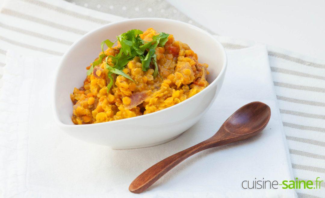 Recette de lentilles corail à l'indienne sans gluten sans lactose